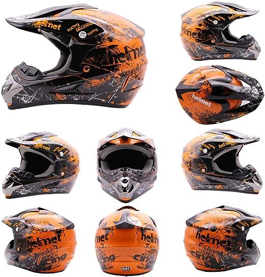 Conjunto De Casco Unisex-Ni/ño Dot Ni/ños J/óvenes ATV Off-Road Dirt Bike Motocross Casco Equipo Combo Guantes Gafas