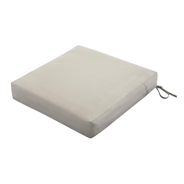 "Classic Accessories Ravenna Square Outdoor Patio Seat Cushion, Mushroom, 25""W x 25""D x 5""T"