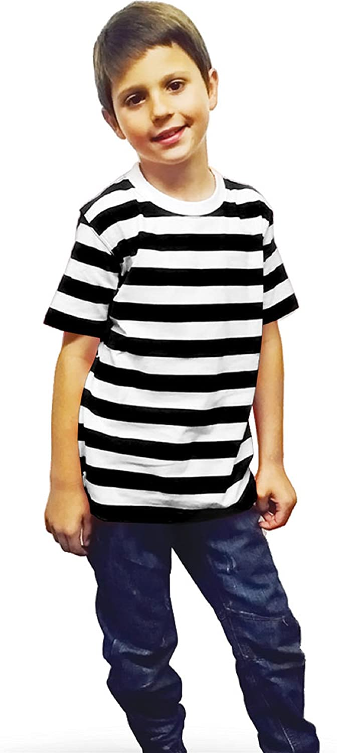 ac5caff9 New Children's Kids Unisex Black White Striped T-shirt Casual Summer Top:  Amazon.co.uk: Clothing