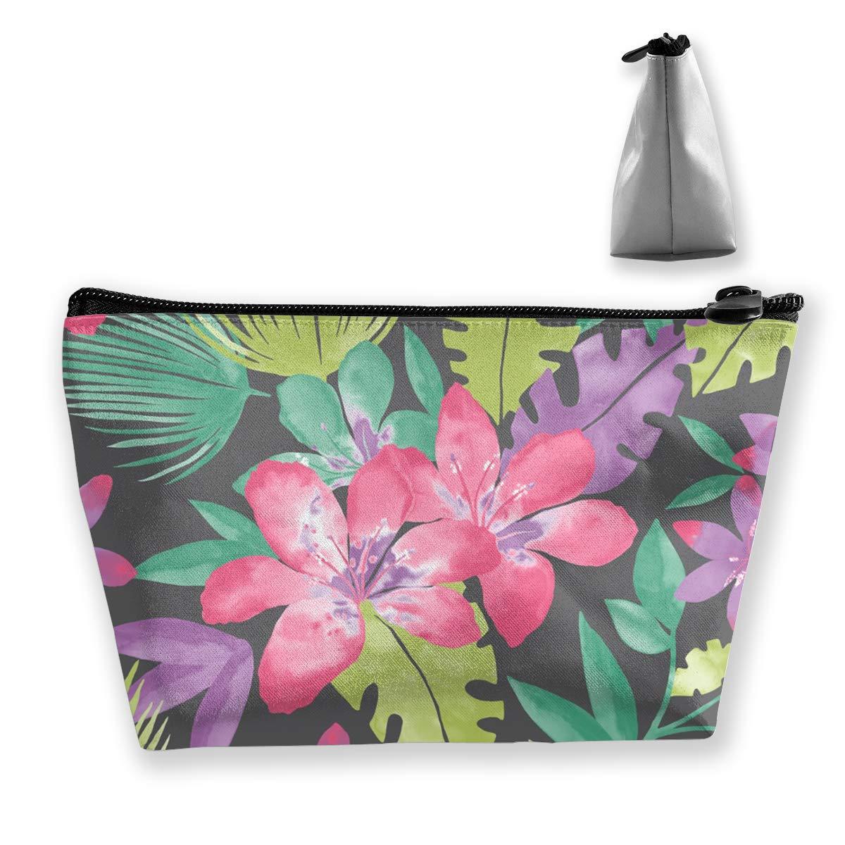 Trapezoid Toiletry Pouch Portable Travel Bag Leaf Tropical Floras Zipper Wallet