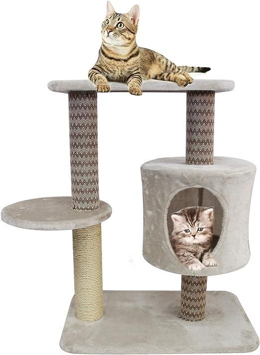 BPS Árbol Rascador Gato Juguete para Gatos con Base Poste y Plataforma Encima Material Rugoso 75x40x60 cm BPS-10728: Amazon.es: Productos para mascotas
