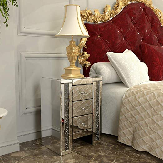 Whitford 3 Drawer Nightstand The Mirrored Finish Will Catch The Light Beautifully And Create A Glamorous Sparkling Look In Your Bedroom Overall 23 8 H X 12 2 W X 17 3 D Kitchen