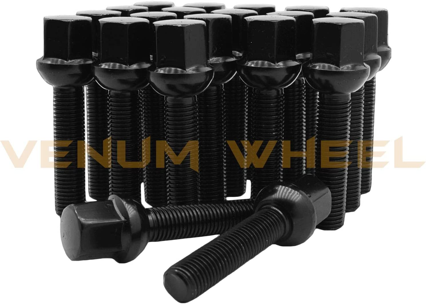 Venum wheel accessories 20Pc Black Powder Coated M14x1.5 Ball Seat Lug Bolts 40 mm Extended Shank Length Radius Works with Volkswagen Audi Mercedes Benz Porsche Vehicle W//Factory Wheels