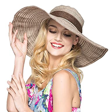 Sun Hat Floppy Straw Hat Packable Roll Up UV Sun Protection Large Brim  Beach Cap With 0534bddf2ba