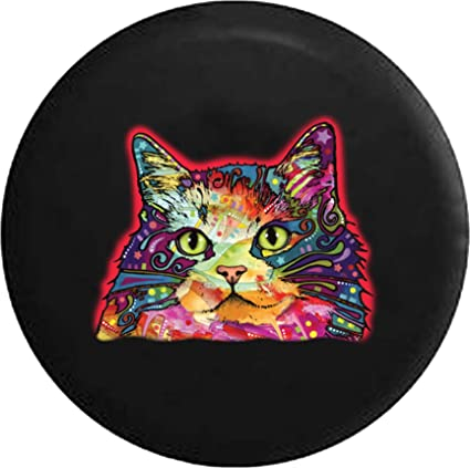Amazoncom Neon Artistic Kitty Cat Jeep Rv Spare Tire Cover Black