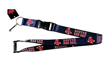 aminco Boston Red Sox Blue Lanyard Keychain Id Holder Ticket - Blue