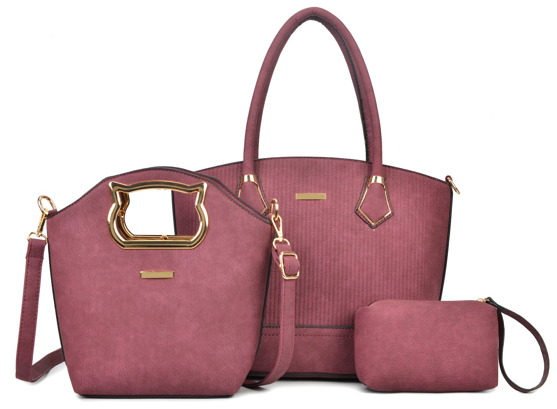 Women Handbag Purse Hobo Faux Leather Messenger Bag Clutch Satchel Bag 3 Piece Gift Set