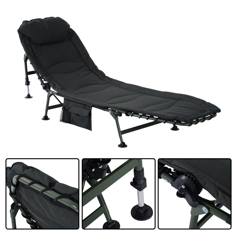 Outsunny pour pêche à la carpe angel chaise de 6 jambes pêcheur chaise longue lit de camp lit de camp de camping chaise longue pliable oxford acier