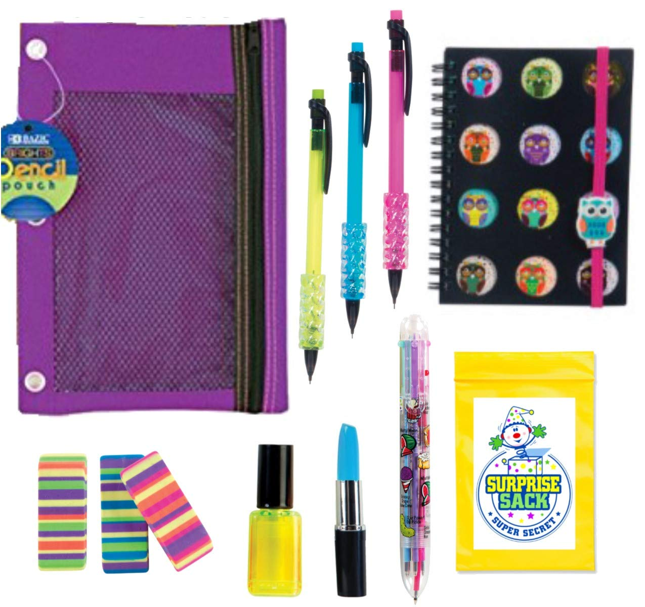 Kids Themed Stationary Accessories-Pencils, Pens, Erasers & 1 Secret Surprise Sack (TM) - Unique Back to School Supplies, Stocking Stuffers, Easter Basket Fillers (Girls Rule - Purple Pouch)