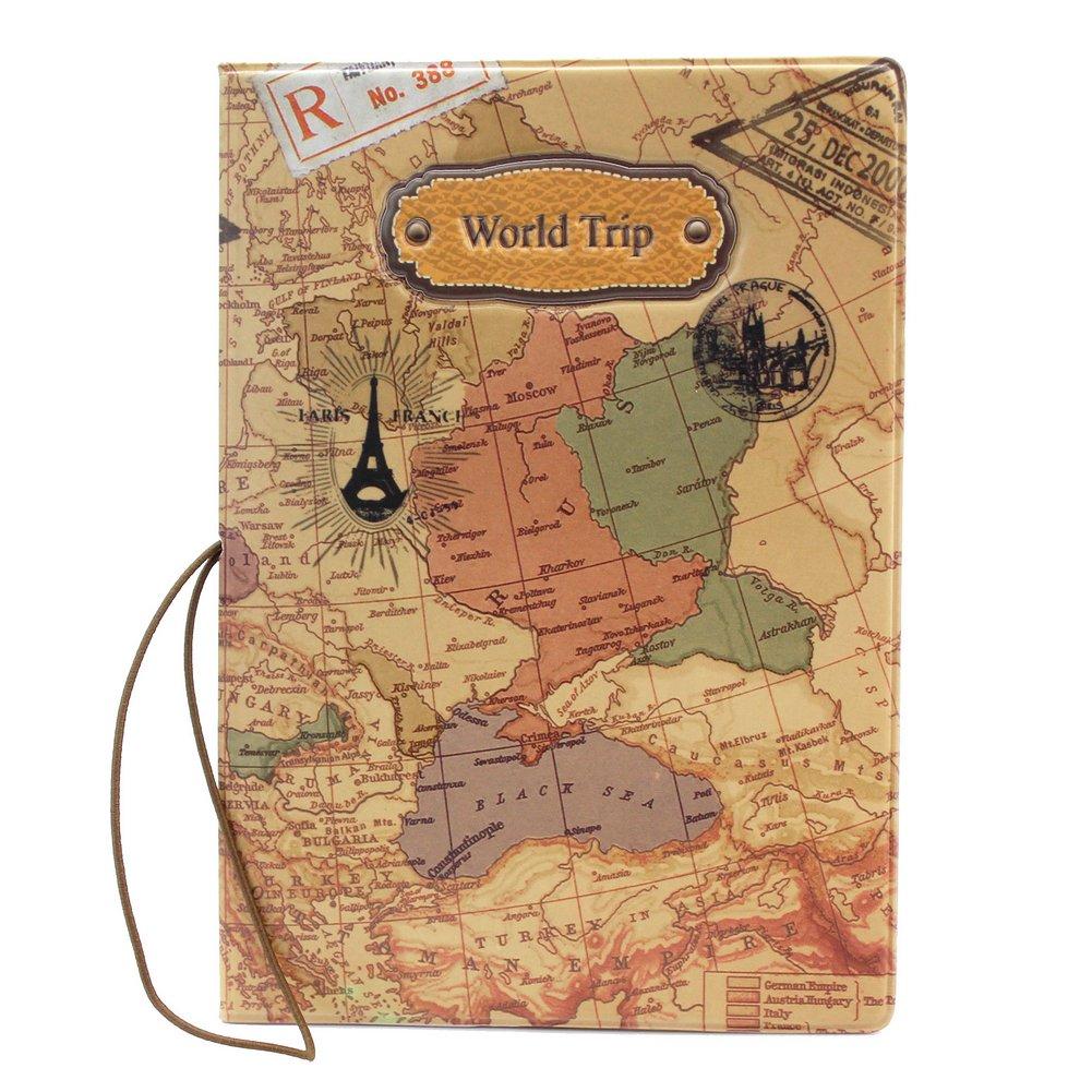 Pinzhi Housse Passeport Couvercle Couverture Etui Housse Protection Motif Carte Monde
