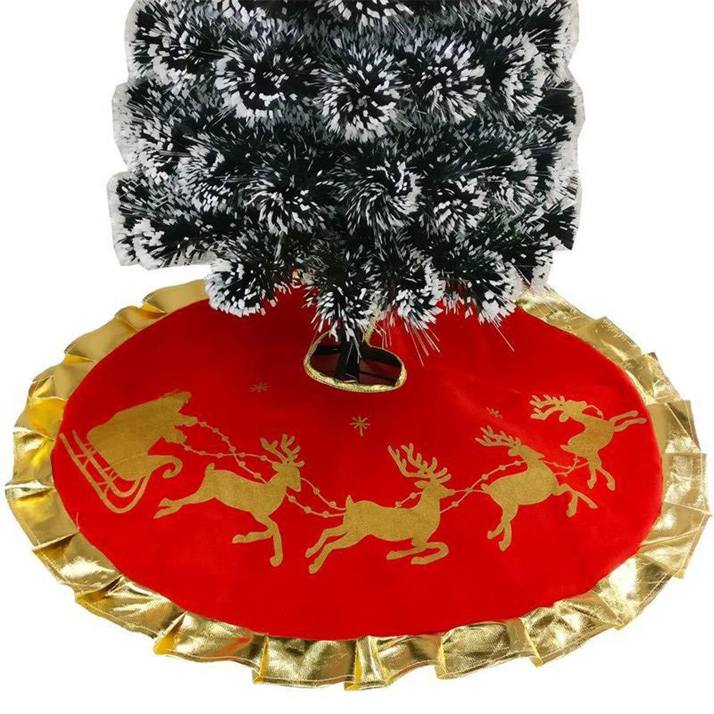 UOMOGO Grande Festive Albero di Natale Gonna Decorazione Rosso con Oro 90cm Embossed Pattern - Merry Christmas (Rosso)