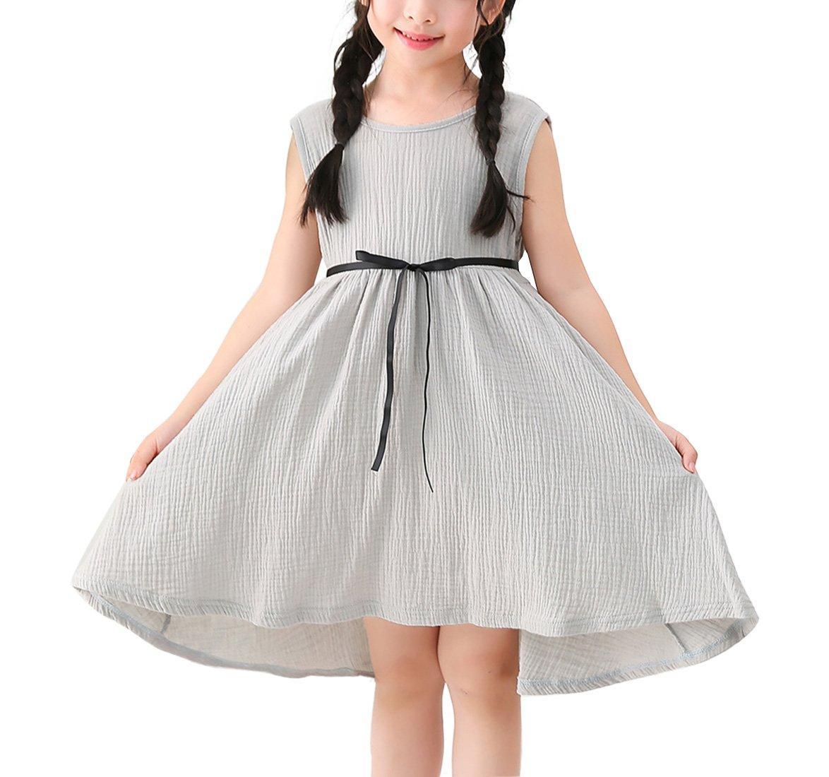 Congcong Girls Pure Cotton Sleeveless High Rise Fine Bow Tie Belt One-Piece Princess Dress (Light Grey, Height-35.43''(90cm))
