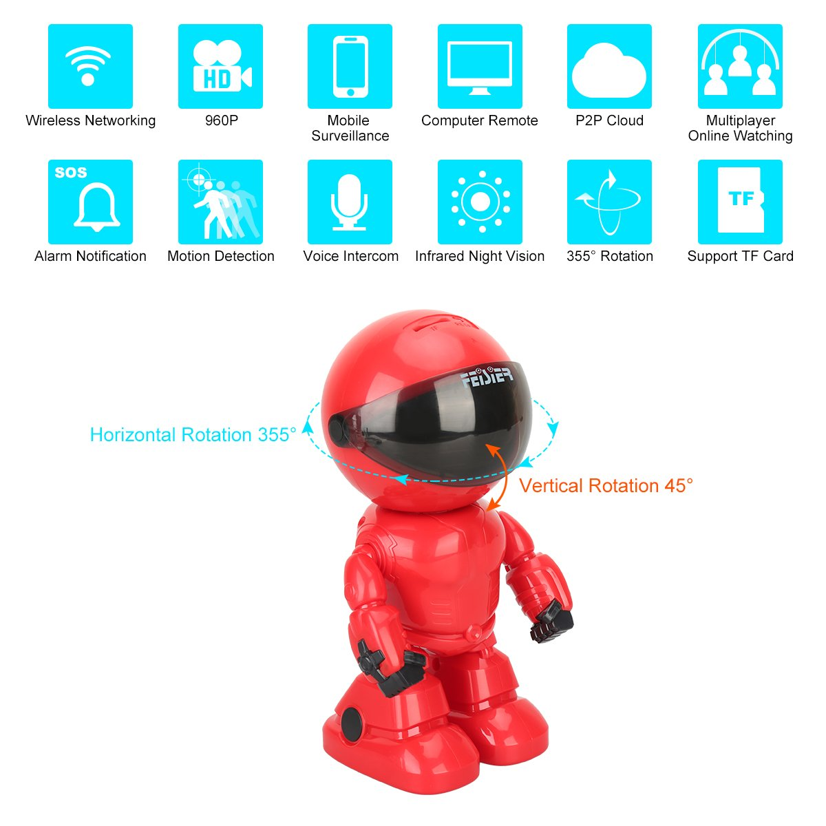 HD Wireless Robot IP Camera,FEISIER 960P Security Camera 1.3MP CMOS Baby Monitor Pan Tilt Remote Home Security P2P IR Night Vision for Mobile Android/iOS and Laptop (Red)