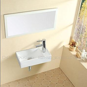 Petite salle de bain Lavabo rectangulaire Fixation murale ...