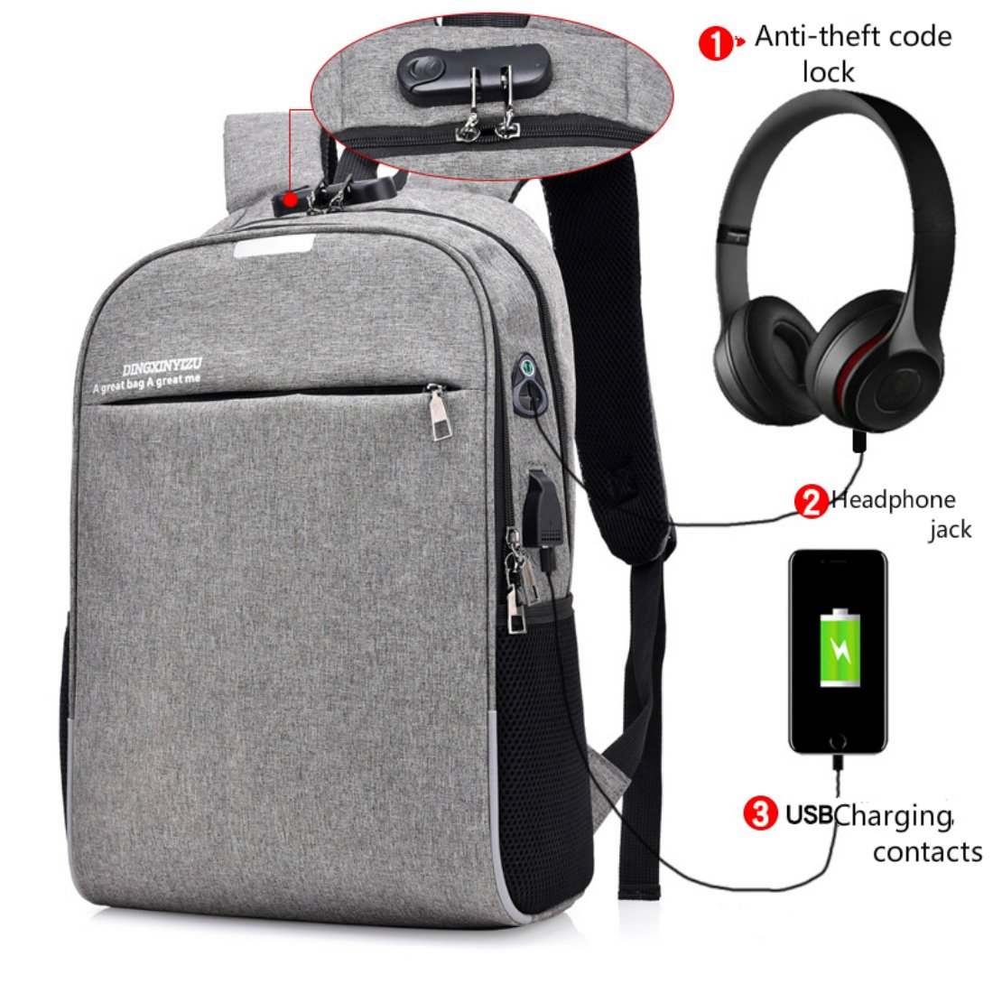 newest 17fe2 ae273 Anti-Theft Laptop Backpack, Business Waterproof Backpack Travel Bag with  USB Charging Port and Headphone Jack for Men and Women, College Bag for ...