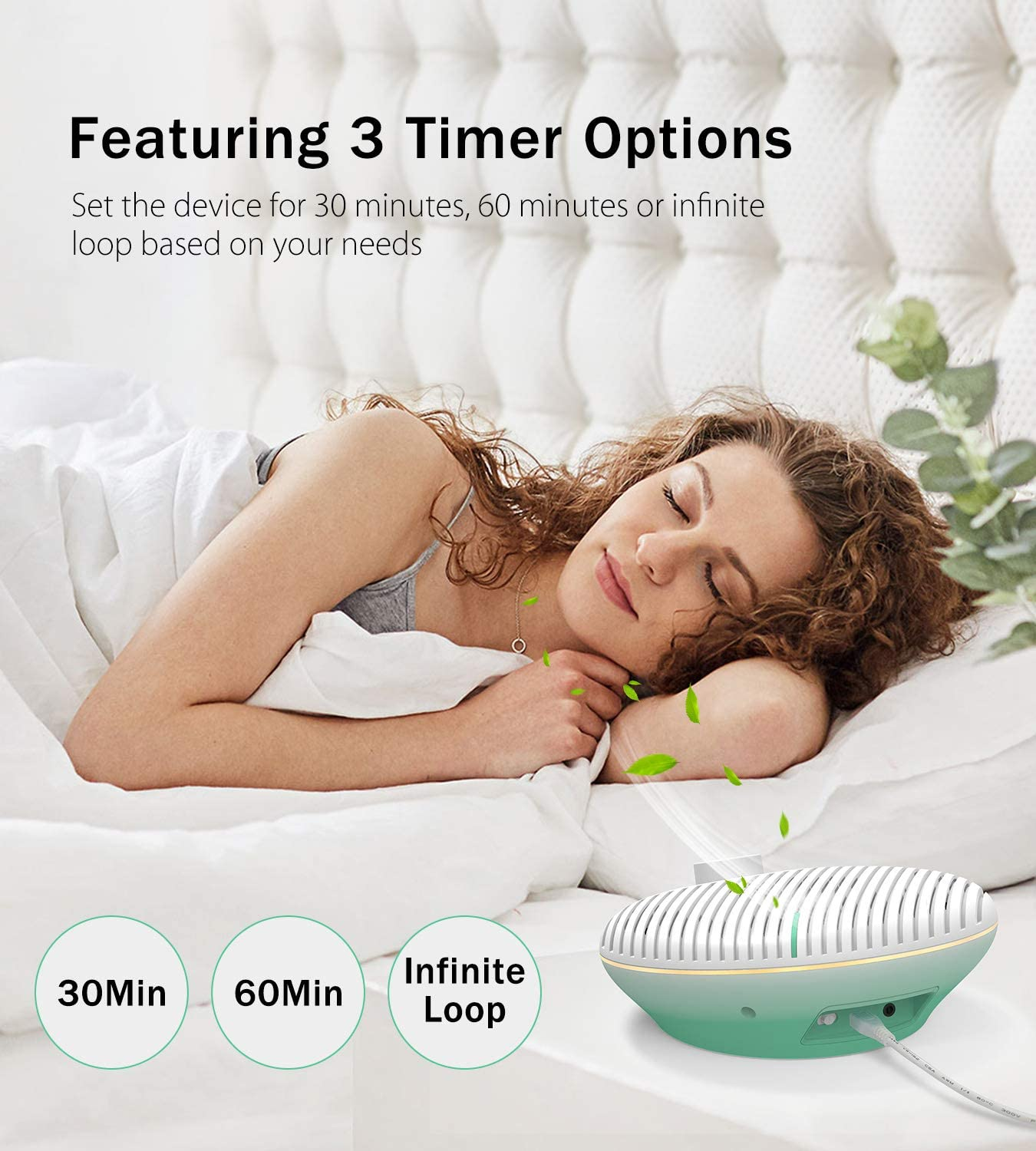 Travel Auto-off Timer /& Memory Feature 10 White Noise and Fan Sound Machine Dimmable Warm Night Light for Baby Nursery PICTEK White Noise Machine with Night Light for Baby Sleeping Office Privacy