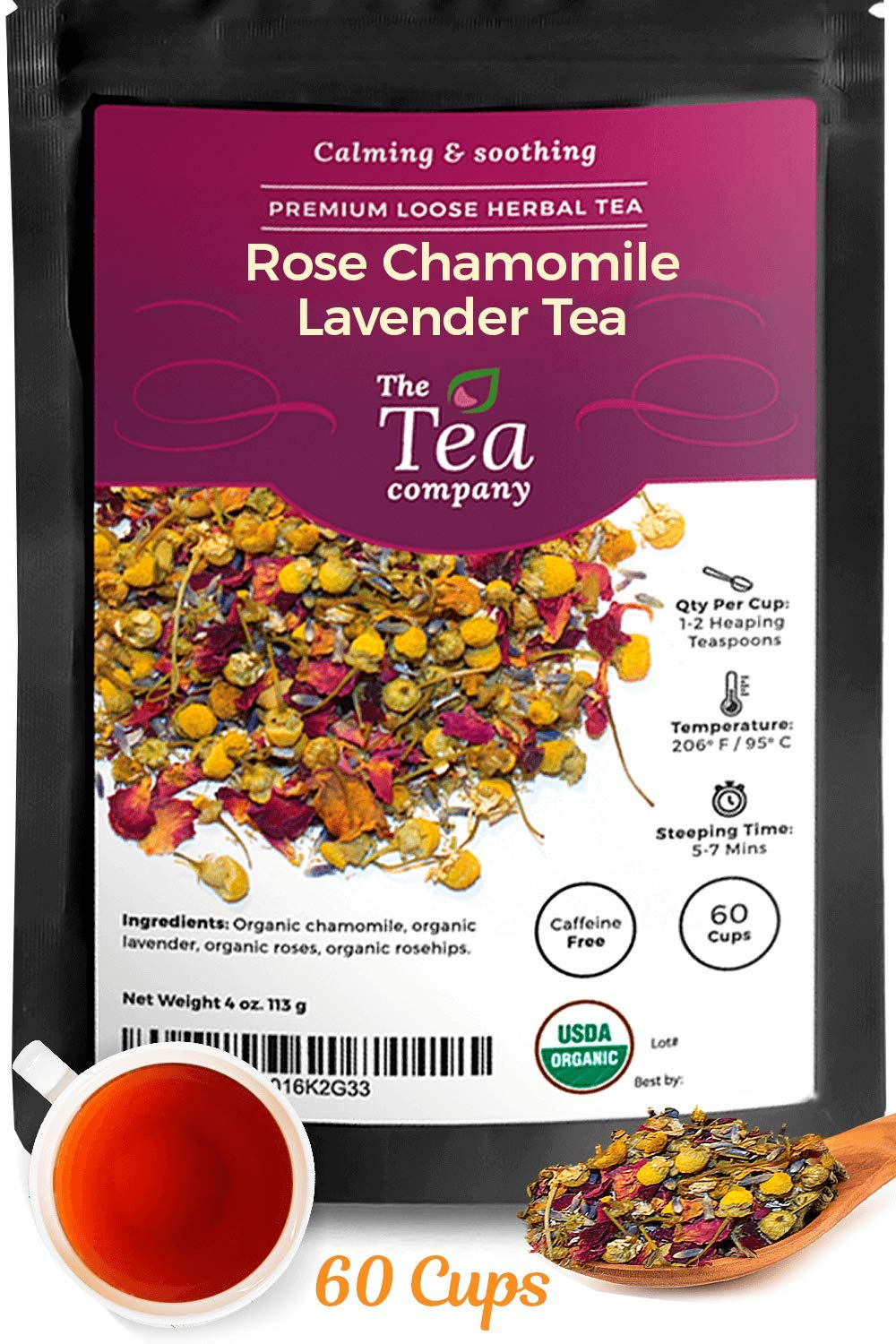Rose Chamomile Lavender Tea 60 Cups of Stress Relief - Sleep at Bedtime Calming and Relaxing Caffeine Free Loose Leaf Organic Herbal Tea by The Tea Company 4oz