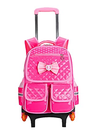 569455907cc2 Fanci Heart Bowknot Kids Rolling School Backpack Trolley Carry on Luggage
