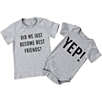 Seven Young Infant Baby Brother Matching Letter Print Short Sleeve Print Romper Jumpsuit Clothes Outfit