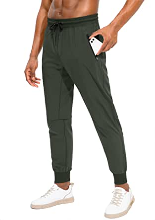Pudolla Men's Lightweight Jogger Pants Workout Running Tapered Joggers for Men with Zipper Pockets for Athletic Travel Casual