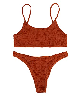81464f0619a Fantastic Zone Women's Sexy Solid Color Halter Shirred Bikini Swimsuit  Bikini Set Bathing Suit Cover UPS Swimwear Orange: Amazon.in: Clothing &  Accessories
