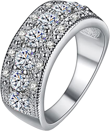 Crystal Square 925 Silver Plated Rings Band Gift Cubic Zirconia Womens Jewellery