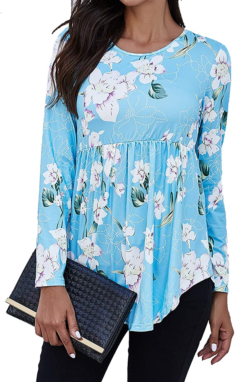 Halife Women's Casual Floral Printed Tunic Top Long Sleeve Pleated Fit and flare Swing Blouse Shirt