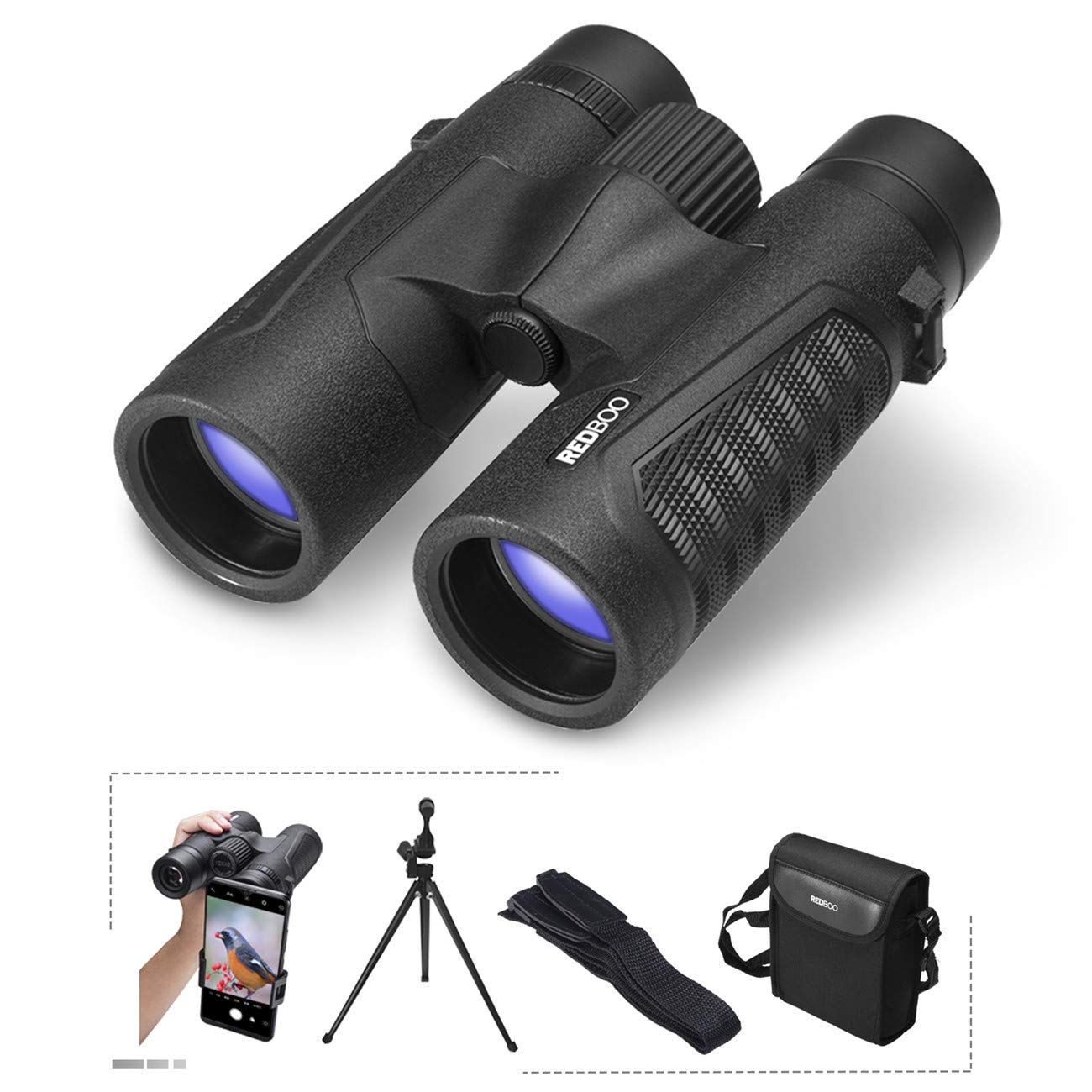 REDBOO Binoculars 12x42   BAK4 Prism FMC Lens   Best for Adults, Bird Watching, Sports Events, Concerts or Hunting - Includes Phone Adapter, Tripod, Neck Strap, L Bracket, Case, and Cleaning Cloth by REDBOO
