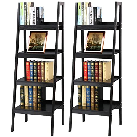 Topeakmart 4 Shelf Floor Standing Leaning Corner Ladder Black Wood Bookcase Bookshelf With