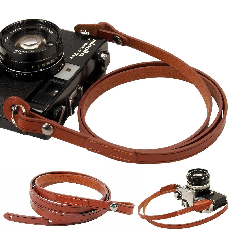 本革 カメラストラップ 一眼レフ用 ミラーレス コンパクト ネックストラップ イタリア産 本革 ショルダーストラップ (ブラウン) B00KJ96H8Q ブラウン