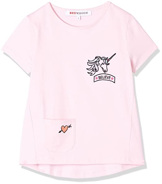 RED WAGON Girls Unicorn T-Shirt, Pink (Rosa), 4 Years