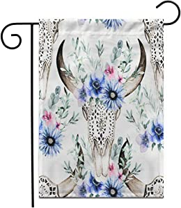 "Adowyee 28""x 40"" Garden Flag Watercolor Bull Head Flowers and Herbal Ornamental Skull Outdoor Double Sided Decorative House Yard Flags"