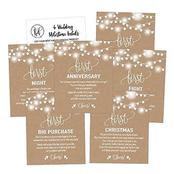 6 rustic wedding milestones gift wine bottle labels or sticker covers bridal shower bachelorette