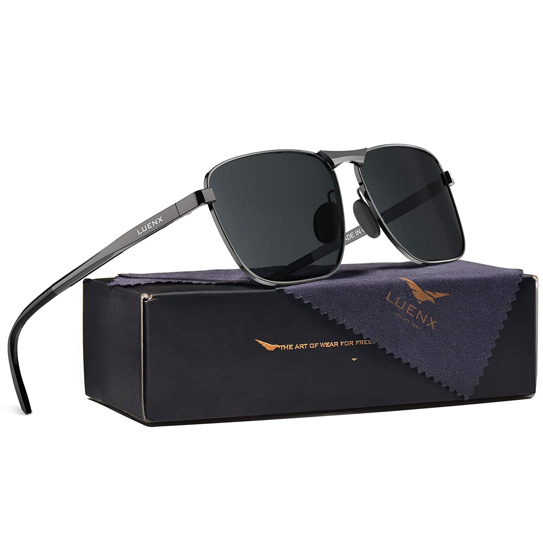 new styles official supplier new york LUENX Rectangular Polarized Sunglasses Square Retro 100% UV Protection  Gunmetal Frame Black Non-Mirror Lens,Without Zipper Case