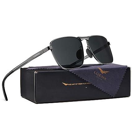 040857fc9 LUENX Rectangular Polarized Sunglasses Square Retro 100% UV protection  Gunmetal Frame Black Non-mirror