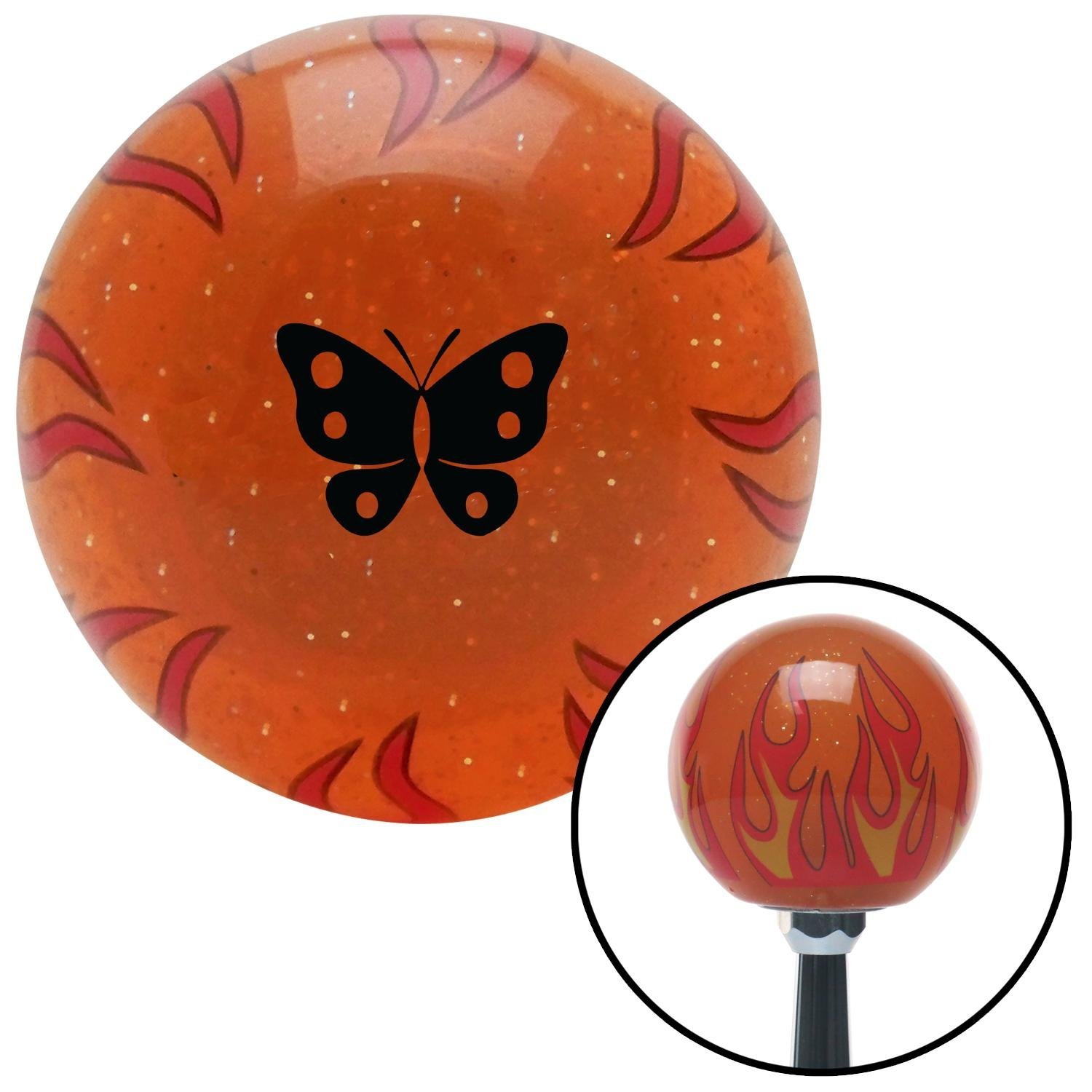 American Shifter 298713 Shift Knob Black Classic Butterfly Orange Flame Metal Flake with M16 x 1.5 Insert