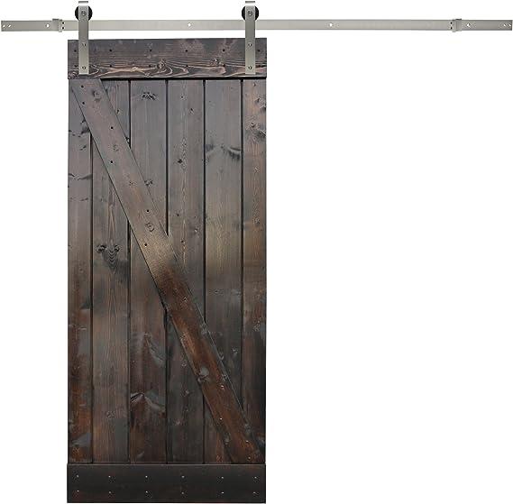 Madera de color marrón oscuro interior pintado granero con puerta deslizante Hardware Set: Amazon.es: Bricolaje y herramientas