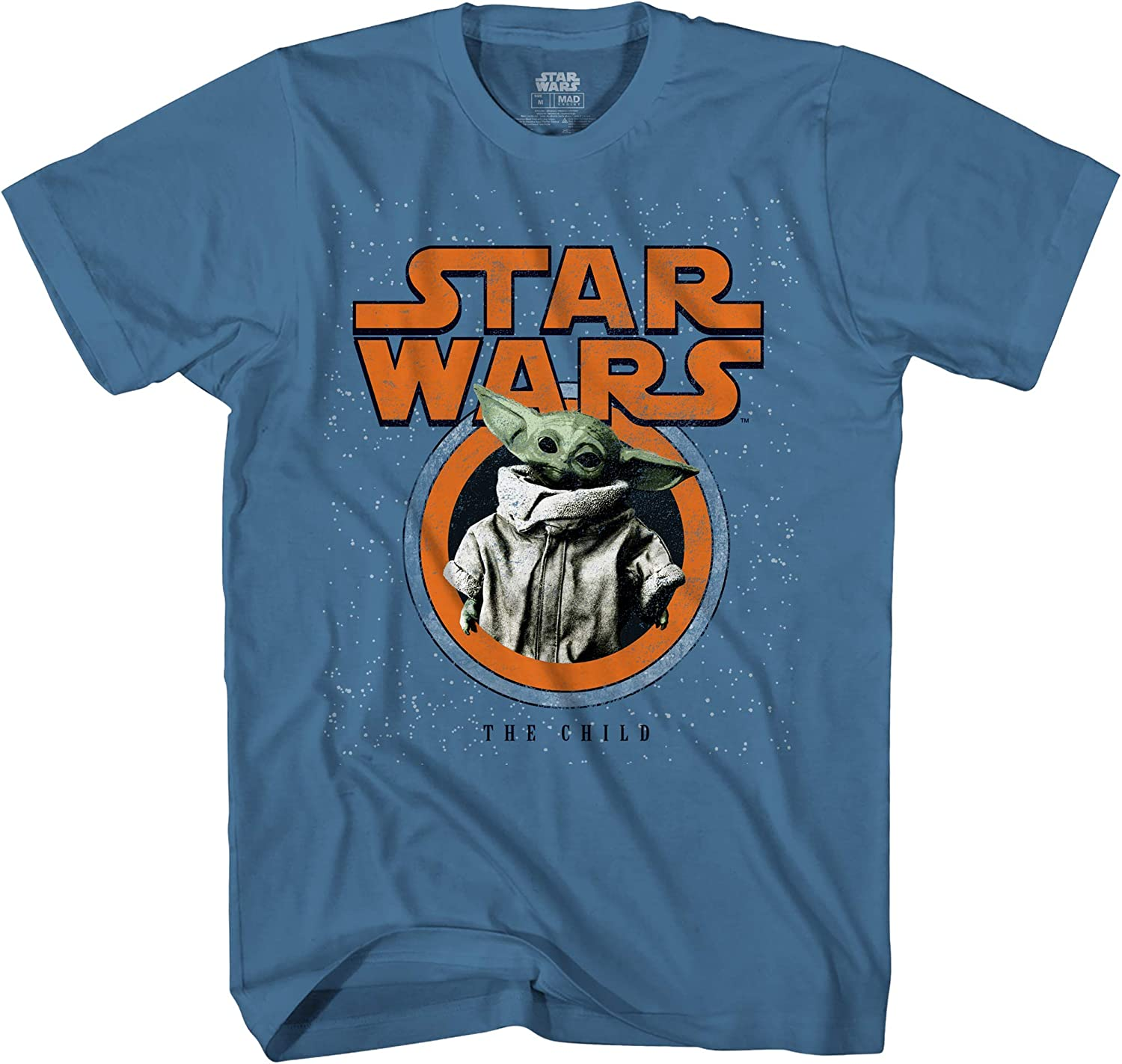Star Wars The Mandalorian The Child Baby Yoda Distressed Logo Adult T-Shirt Licensed