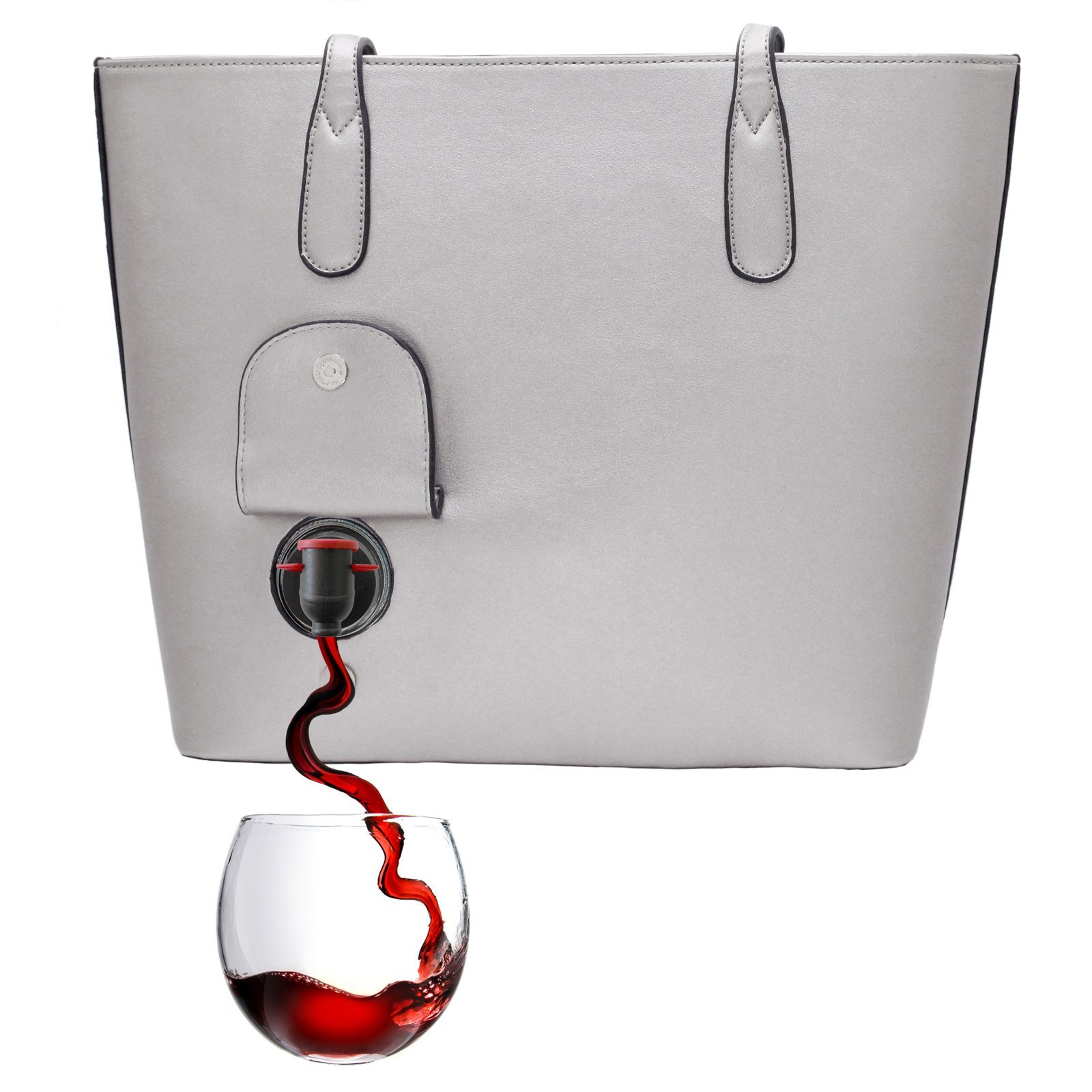 PortoVino Classic Wine Purse (Dove Grey) - Fashionable purse with Hidden, Insulated Compartment, Holds 2 bottles of Wine!