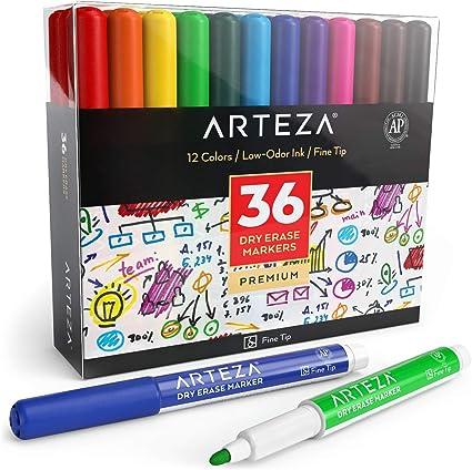 Arteza Caja de rotuladores de colores para pizarra   36 marcadores borrables de punta fina   12 colores, perfectos para el colegio, la oficina y el hogar: Amazon.es: Oficina y papelería