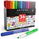 Arteza Dry Erase Markers, Pack of 36 (with Fine Tip), 12 Assorted Colors with Low-Odor Ink, Whiteboard Pens, Office Supplies