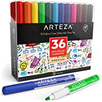 Arteza Dry Erase Markers, Pack of 36 (with Fine Tip), 12 Assorted Colors with Low-Odor Ink, Whiteboard Pens, Office…