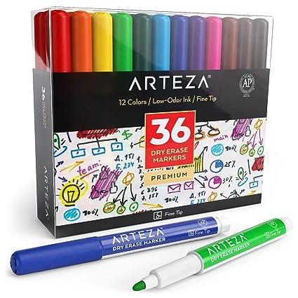 ARTEZA Caja de rotuladores de colores para pizarra | 36 marcadores borrables de punta fina | 12 colores, perfectos para el colegio, la oficina y el ...