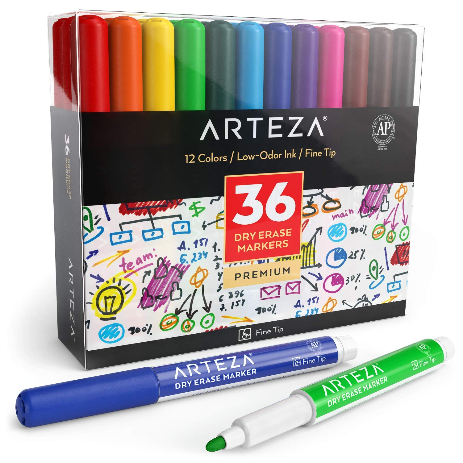 ARTEZA Dry Erase Markers, Pack of 36 (with Fine Tip), 12 Assorted Colors with Low-Odor Ink, Whiteboard Pens is perfect for School, Office, or Home by ARTEZA (Image #1)