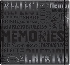 """MCS MBI 13.5x12.5 Inch Embossed Gloss Expressions Scrapbook Album with 12x12 Inch Pages, Black, Embossed """"Memories"""" (848121)"""