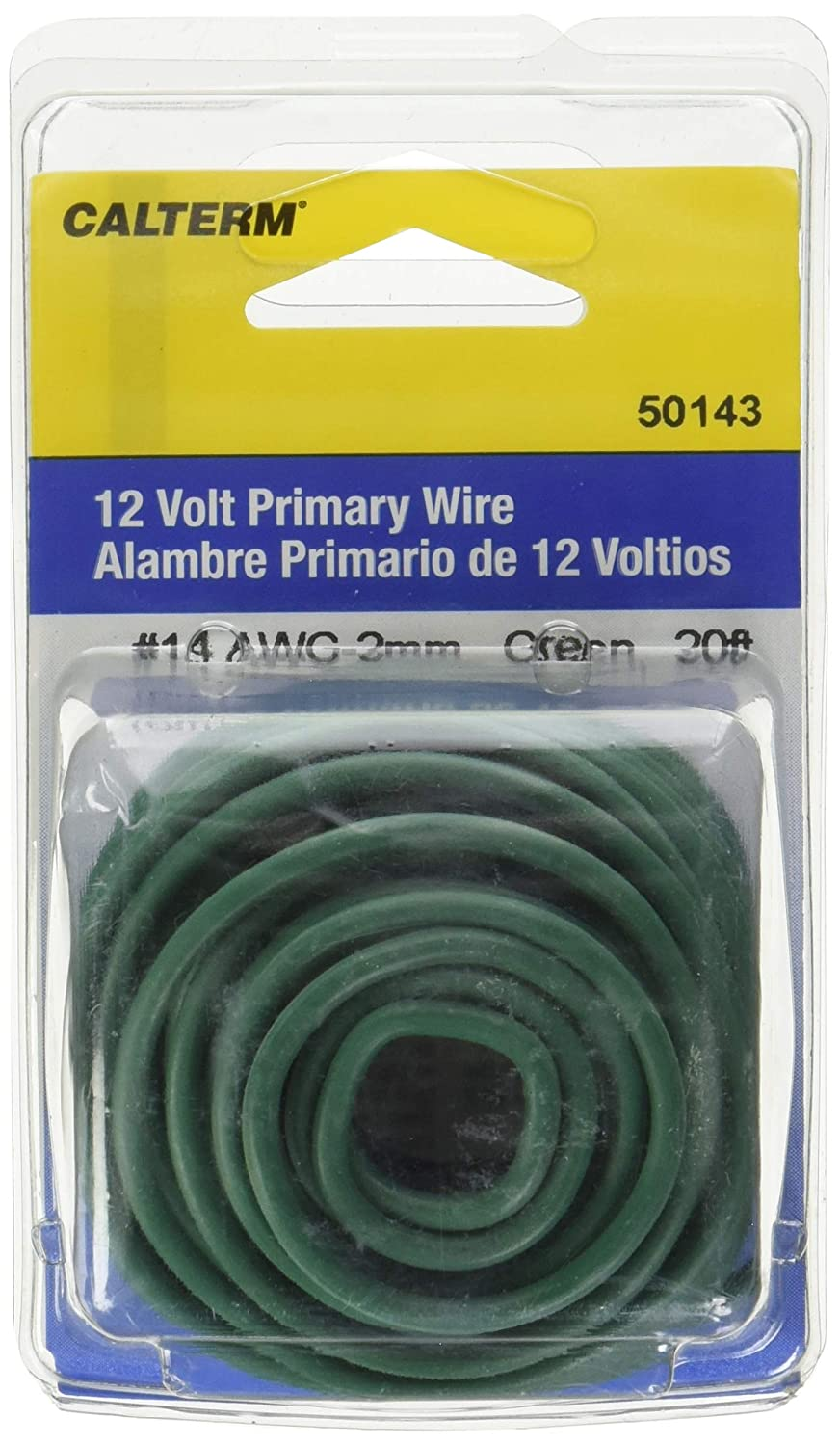 Amazon.com: Calterm 50143 Electrical Primary Wire, 20 ft., 14 AWG, Green: Automotive