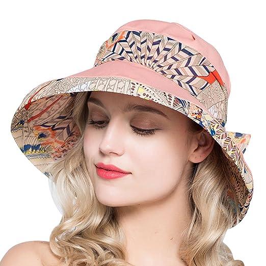b0ac02fe56500 Kafeimali Women s Cotton Bucket Hat UPF50 Summer Beach Caps Big Fold-up Brim