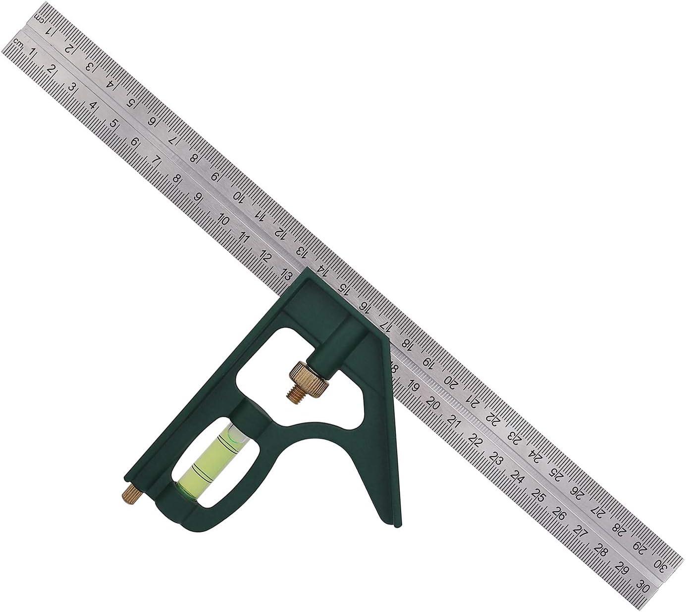 Escuadra Combinada Ajustable Regla de /ángulo Cuadrado de Combinaci/ón Multifuncional de 45//90 Grados con Nivel de Burbuja para Herramientas de Carpintero 300 mm//12 Pulgadas