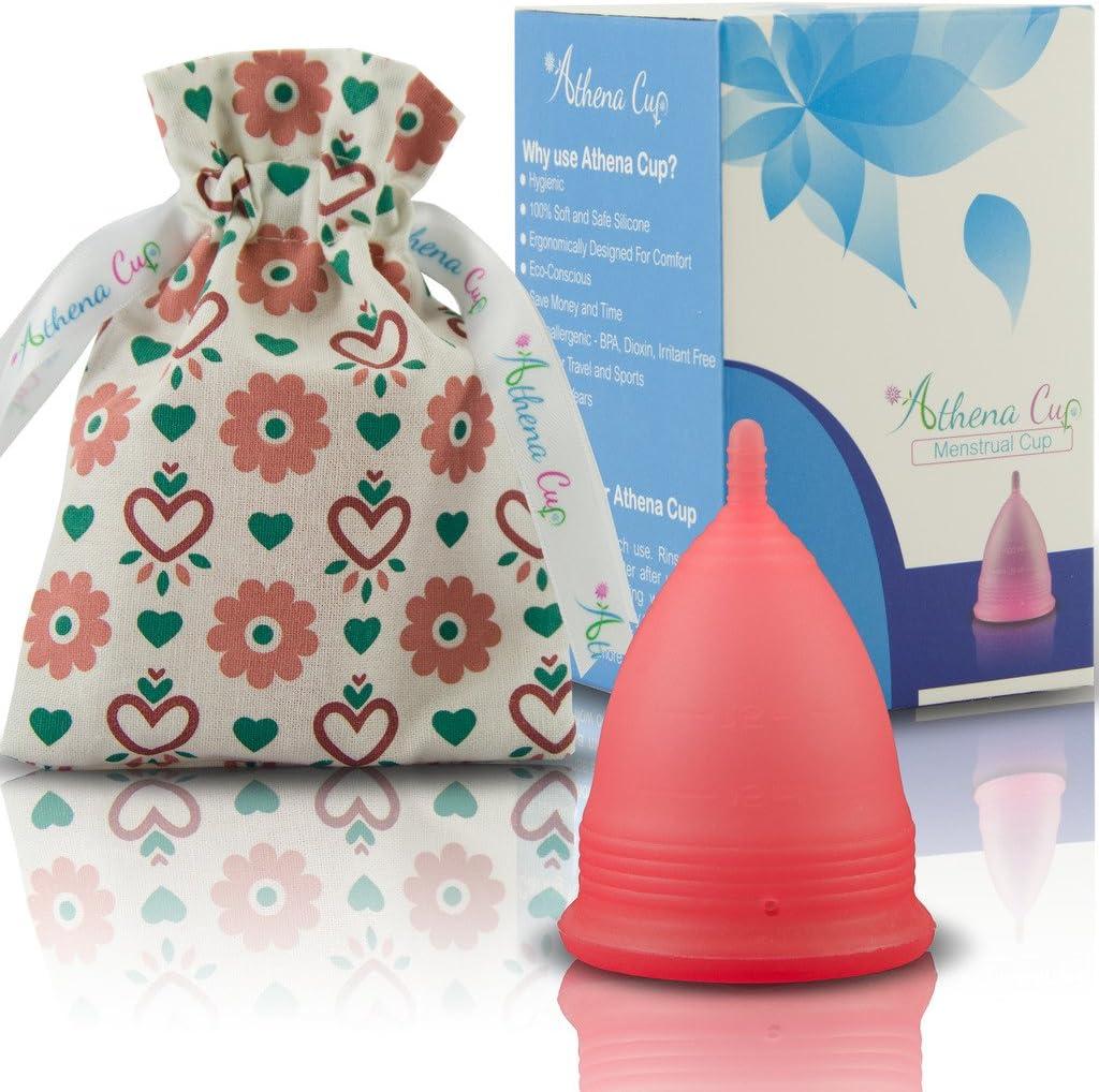 Athena Copa Menstrual – La copa menstrual más recomendada - Incluye una bolsa de regalo - Talla 2, Rojo transparente - ¡Ausencia de pérdidas ...
