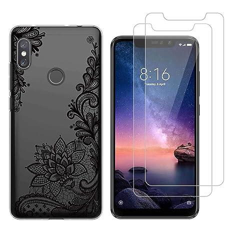 Funda Xiaomi Redmi Note 6 Pro De Encaje Negro Suave TPU Silicona Protector Trasero Carcasa para Xiaomi Redmi Note 6 Pro (6,26 Pulgada) con Dos ...
